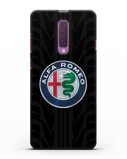 Чехол с эмблемой Alfa Romeo с протектором шин силикон черный для Samsung Galaxy A90 [SM-A908N]