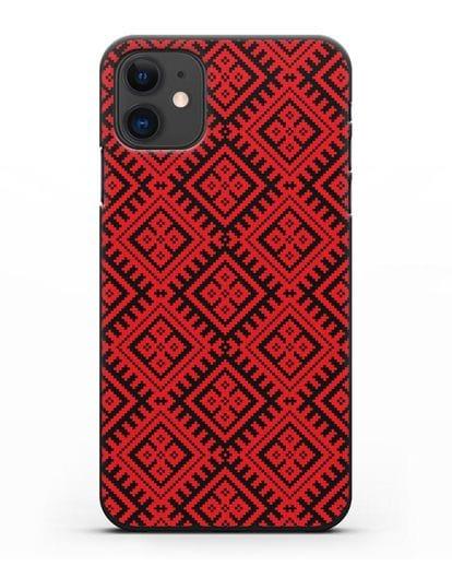 Чехол с белорусским орнаментом и символом Чистота силикон черный для iPhone 11