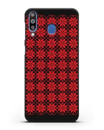 Чехол с белорусским орнаментом и символом Богатство силикон черный для Samsung Galaxy M30 [SM-M305F]