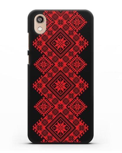 Чехол с красным белорусским орнаментом и символами Богатство, Огонь, Молодость силикон черный для Honor 8S