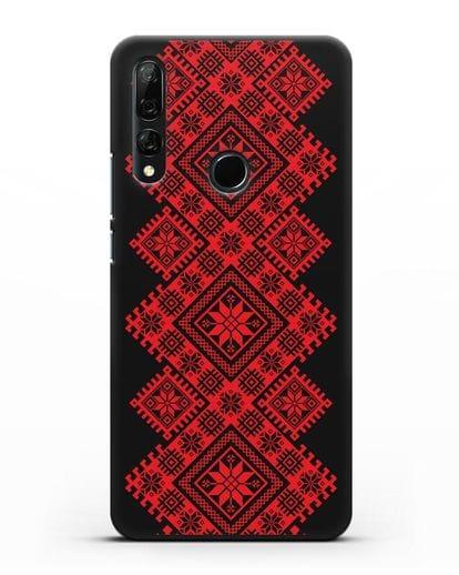 Чехол с красным белорусским орнаментом и символами Богатство, Огонь, Молодость силикон черный для Honor 9X