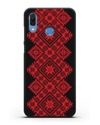 Чехол с красным белорусским орнаментом и символами Богатство, Огонь, Молодость силикон черный для Honor Play