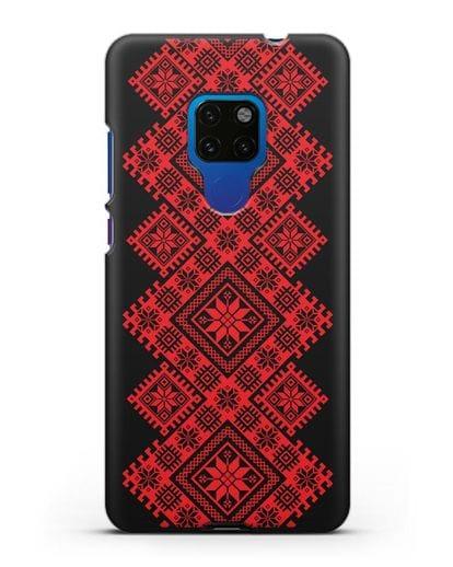 Чехол с красным белорусским орнаментом и символами Богатство, Огонь, Молодость силикон черный для Huawei Mate 20