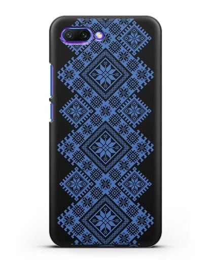 Чехол с синим белорусским орнаментом и символами Богатство, Огонь, Молодость силикон черный для Honor 10