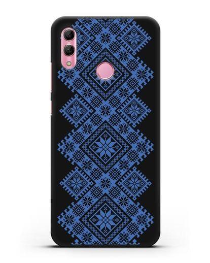Чехол с синим белорусским орнаментом и символами Богатство, Огонь, Молодость силикон черный для Honor 10 Lite