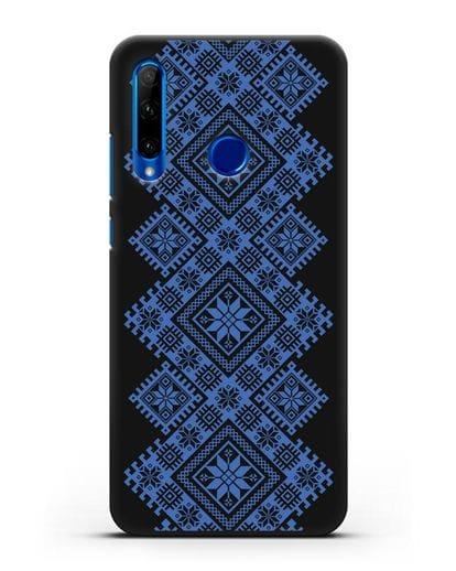 Чехол с синим белорусским орнаментом и символами Богатство, Огонь, Молодость силикон черный для Honor 10i