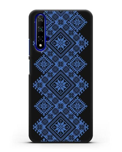 Чехол с синим белорусским орнаментом и символами Богатство, Огонь, Молодость силикон черный для Honor 20