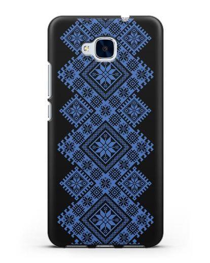 Чехол с синим белорусским орнаментом и символами Богатство, Огонь, Молодость силикон черный для Honor 5C