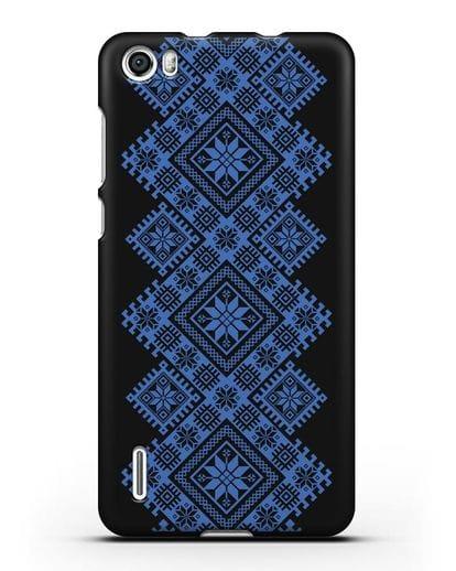 Чехол с синим белорусским орнаментом и символами Богатство, Огонь, Молодость силикон черный для Honor 6