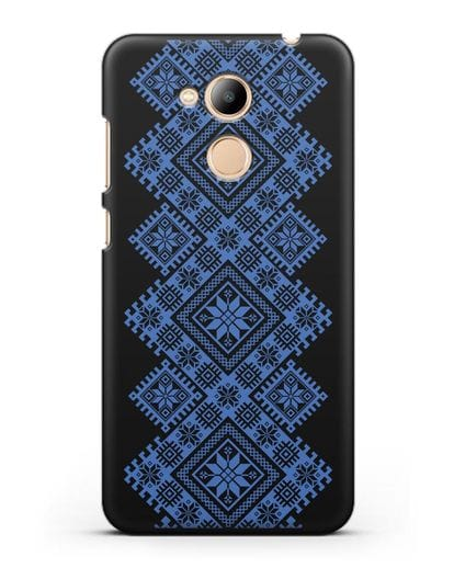 Чехол с синим белорусским орнаментом и символами Богатство, Огонь, Молодость силикон черный для Honor 6C Pro