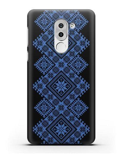 Чехол с синим белорусским орнаментом и символами Богатство, Огонь, Молодость силикон черный для Honor 6X