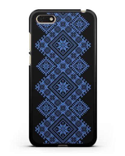 Чехол с синим белорусским орнаментом и символами Богатство, Огонь, Молодость силикон черный для Honor 7А