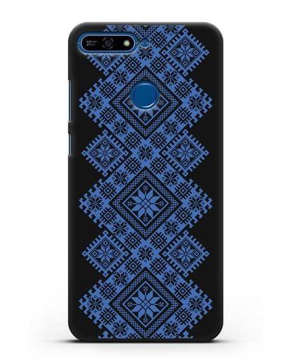 Чехол с синим белорусским орнаментом и символами Богатство, Огонь, Молодость силикон черный для Honor 7А Pro
