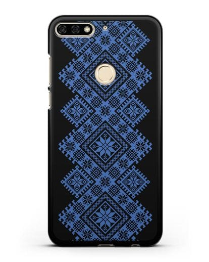 Чехол с синим белорусским орнаментом и символами Богатство, Огонь, Молодость силикон черный для Honor 7C