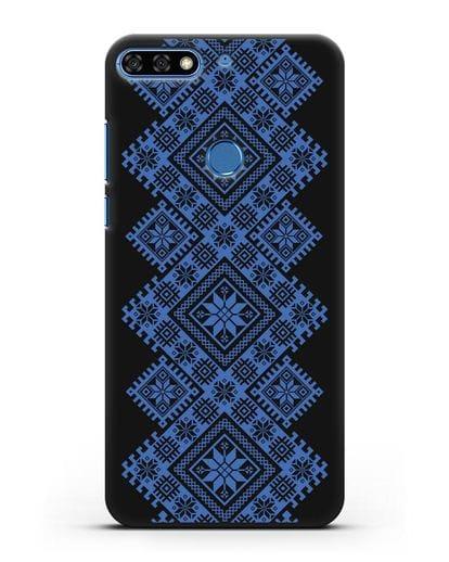 Чехол с синим белорусским орнаментом и символами Богатство, Огонь, Молодость силикон черный для Honor 7C Pro