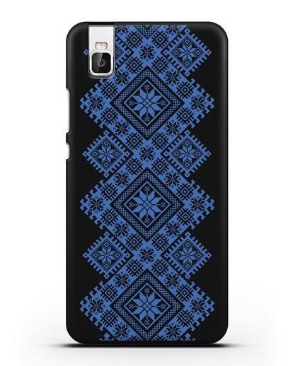 Чехол с синим белорусским орнаментом и символами Богатство, Огонь, Молодость силикон черный для Honor 7i
