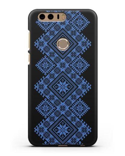 Чехол с синим белорусским орнаментом и символами Богатство, Огонь, Молодость силикон черный для Honor 8