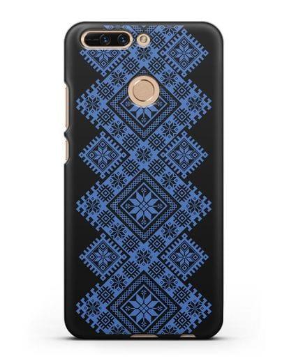 Чехол с синим белорусским орнаментом и символами Богатство, Огонь, Молодость силикон черный для Honor 8 Pro
