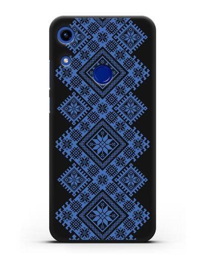 Чехол с синим белорусским орнаментом и символами Богатство, Огонь, Молодость силикон черный для Honor 8A