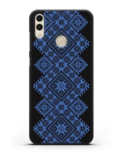 Чехол с синим белорусским орнаментом и символами Богатство, Огонь, Молодость силикон черный для Honor 8C