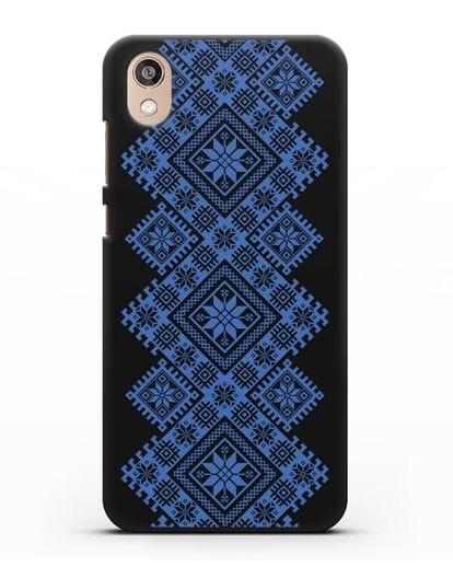 Чехол с синим белорусским орнаментом и символами Богатство, Огонь, Молодость силикон черный для Honor 8S