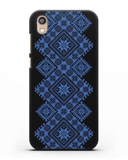 Чехол с синим белорусским орнаментом и символами Богатство, Огонь, Молодость силикон черный для Honor 8S Prime
