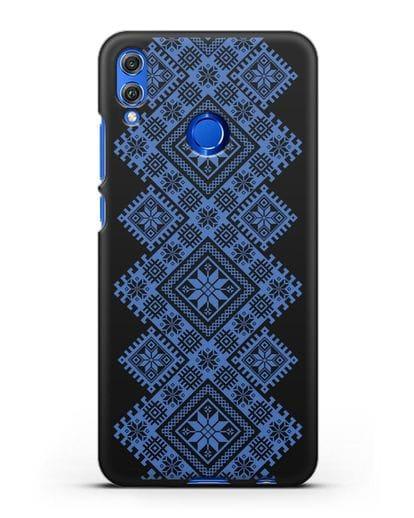 Чехол с синим белорусским орнаментом и символами Богатство, Огонь, Молодость силикон черный для Honor 8X