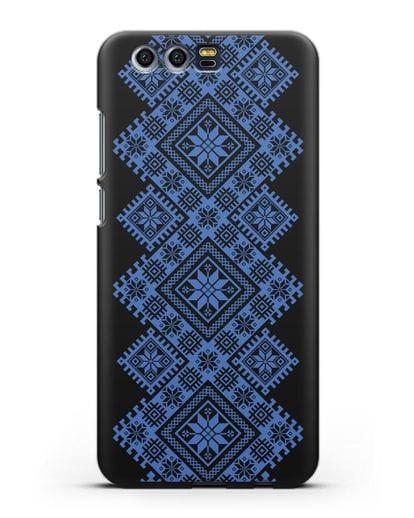 Чехол с синим белорусским орнаментом и символами Богатство, Огонь, Молодость силикон черный для Honor 9