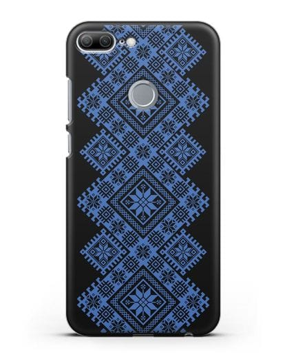 Чехол с синим белорусским орнаментом и символами Богатство, Огонь, Молодость силикон черный для Honor 9 Lite