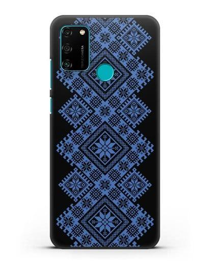 Чехол с синим белорусским орнаментом и символами Богатство, Огонь, Молодость силикон черный для Honor 9A