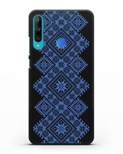 Чехол с синим белорусским орнаментом и символами Богатство, Огонь, Молодость силикон черный для Honor 9C