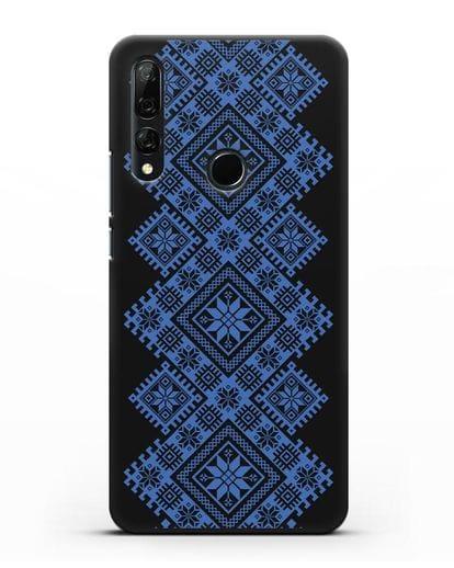Чехол с синим белорусским орнаментом и символами Богатство, Огонь, Молодость силикон черный для Honor 9X