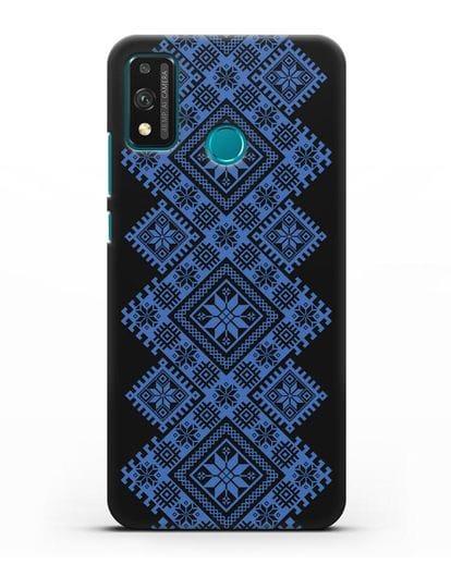 Чехол с синим белорусским орнаментом и символами Богатство, Огонь, Молодость силикон черный для Honor 9X lite