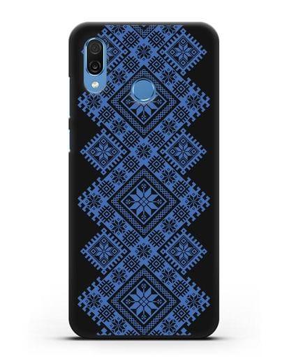 Чехол с синим белорусским орнаментом и символами Богатство, Огонь, Молодость силикон черный для Honor Play