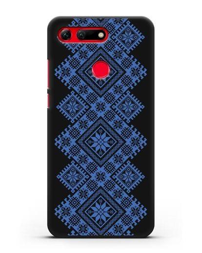 Чехол с синим белорусским орнаментом и символами Богатство, Огонь, Молодость силикон черный для Honor View 20