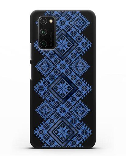Чехол с синим белорусским орнаментом и символами Богатство, Огонь, Молодость силикон черный для Honor View 30 Pro