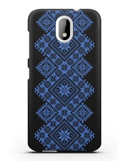 Чехол с синим белорусским орнаментом и символами Богатство, Огонь, Молодость силикон черный для HTC Desire 326