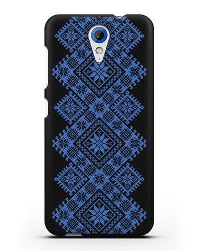 Чехол с синим белорусским орнаментом и символами Богатство, Огонь, Молодость силикон черный для HTC Desire 620