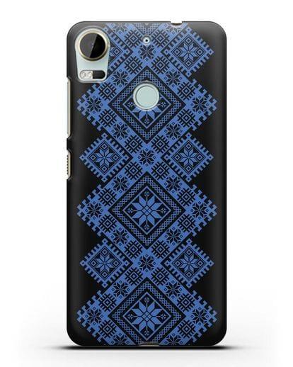 Чехол с синим белорусским орнаментом и символами Богатство, Огонь, Молодость силикон черный для HTC Desire 10 Pro