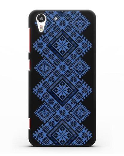 Чехол с синим белорусским орнаментом и символами Богатство, Огонь, Молодость силикон черный для HTC Desire Eye