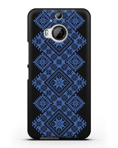 Чехол с синим белорусским орнаментом и символами Богатство, Огонь, Молодость силикон черный для HTC One M9 Plus