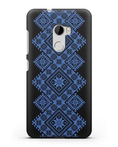 Чехол с синим белорусским орнаментом и символами Богатство, Огонь, Молодость силикон черный для HTC One X10