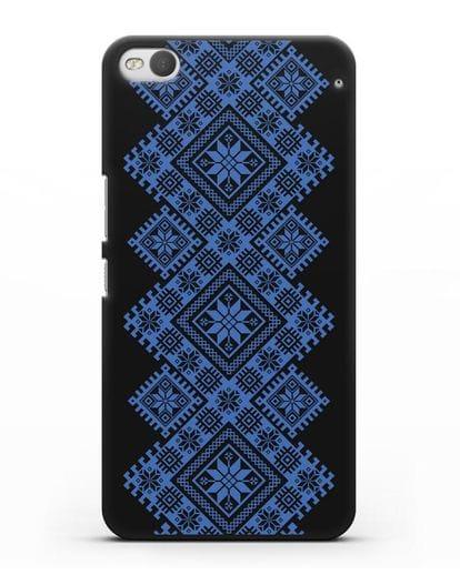 Чехол с синим белорусским орнаментом и символами Богатство, Огонь, Молодость силикон черный для HTC One X9