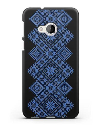Чехол с синим белорусским орнаментом и символами Богатство, Огонь, Молодость силикон черный для HTC U Play