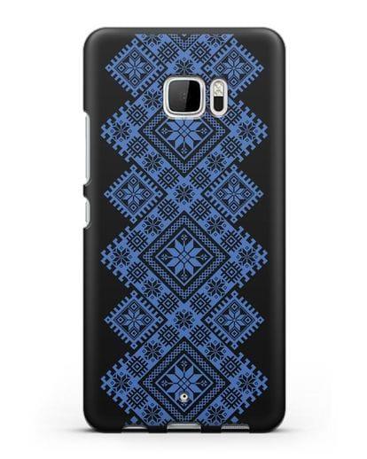Чехол с синим белорусским орнаментом и символами Богатство, Огонь, Молодость силикон черный для HTC U Ultra