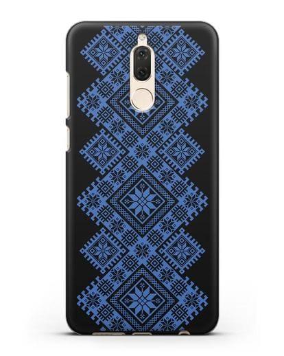 Чехол с синим белорусским орнаментом и символами Богатство, Огонь, Молодость силикон черный для Huawei Mate 10 Lite