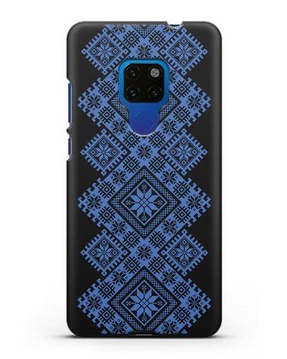 Чехол с синим белорусским орнаментом и символами Богатство, Огонь, Молодость силикон черный для Huawei Mate 20