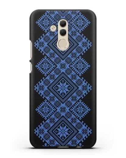 Чехол с синим белорусским орнаментом и символами Богатство, Огонь, Молодость силикон черный для Huawei Mate 20 Lite