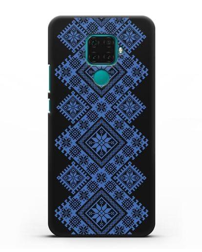Чехол с синим белорусским орнаментом и символами Богатство, Огонь, Молодость силикон черный для Huawei Mate 30 Lite
