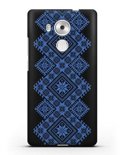 Чехол с синим белорусским орнаментом и символами Богатство, Огонь, Молодость силикон черный для Huawei Mate 8